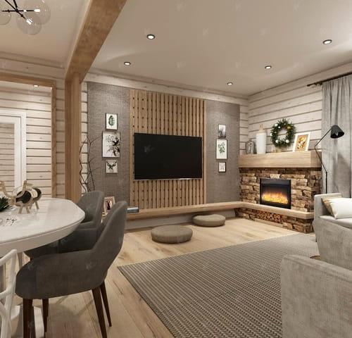 камин и телевизор в комнате Кинешма