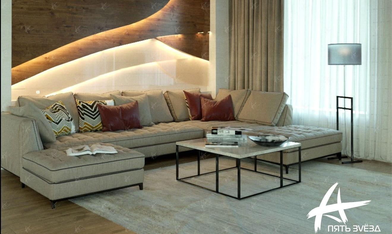 проект «Дует» — диван в гостиной дома из бруса