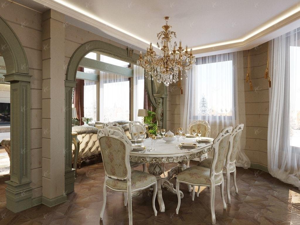 Нефрит - стол в столовой в деревянном доме