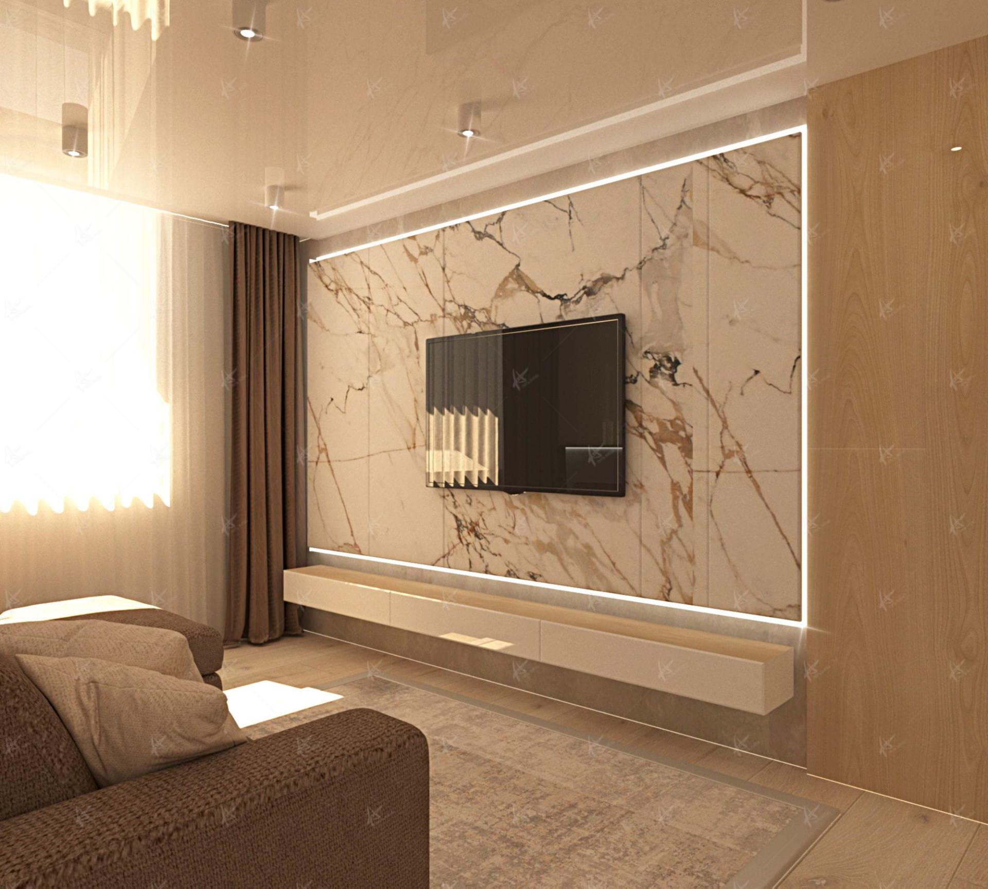 Квартира лаконичность - стена с телевизором Дизайн интерьера в Кирове