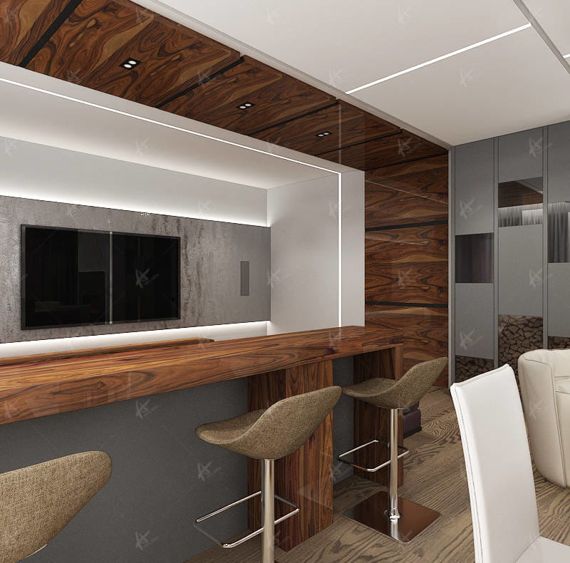 Дизайн проект Апартаменты — барная стойка