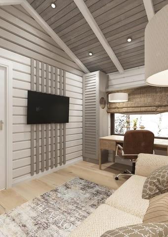 Дизайн проект дома Кинешма — телевизор в гостевой комнате