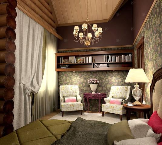 проект гостиной в доме Шик