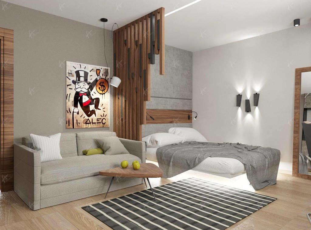 кровать в комнате молодого человека