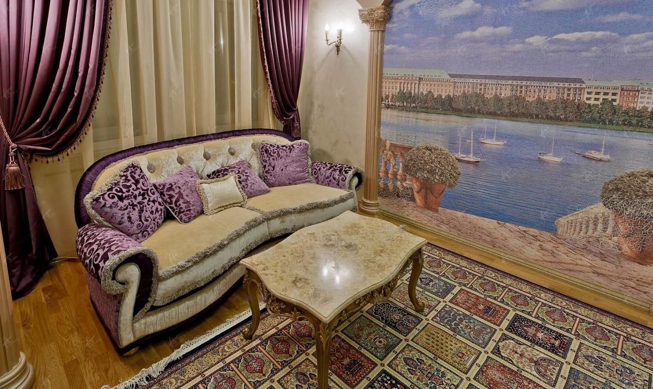 диван и стол в кабинете, дизайн проект