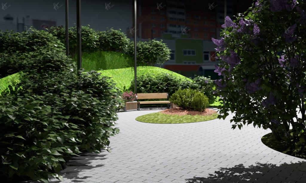 скамейка в парке на микрорайоне