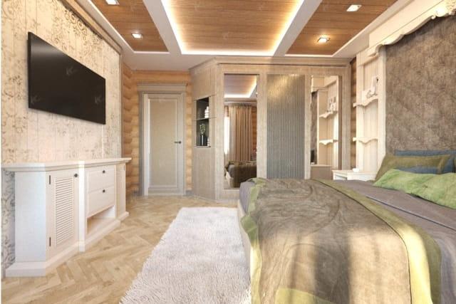 дизайн интерьера в стиле green house — спальная комната