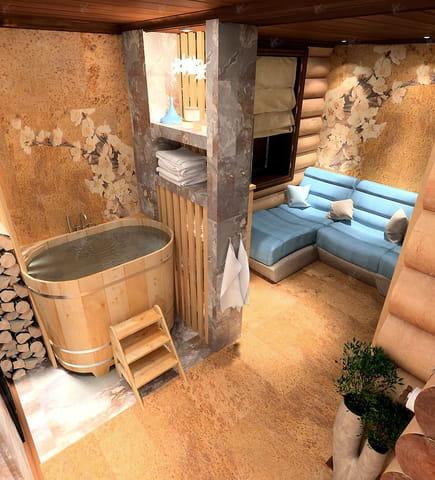 спа зона в деревянном доме шик