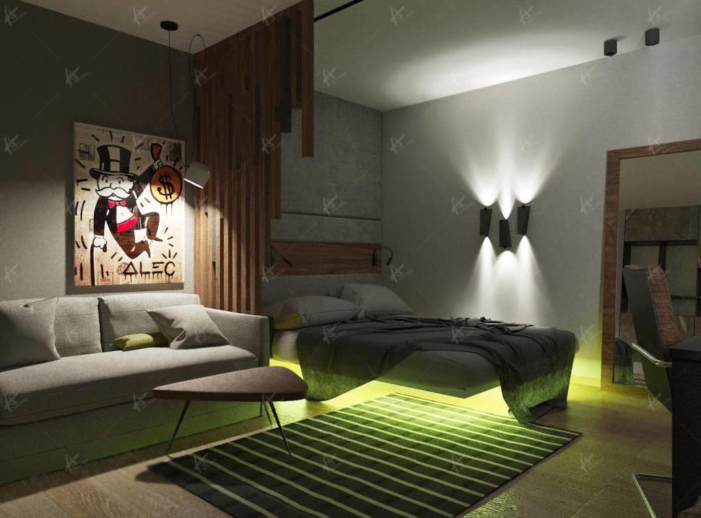 комната молодого человека - ночной свет