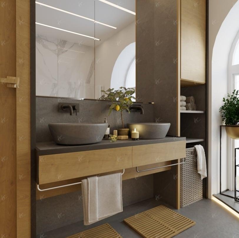 зеркало и умывальники в ванной комнате