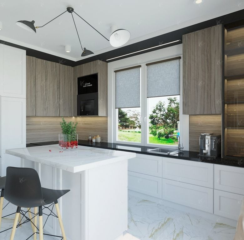 кухонная мойка у окна общий вид