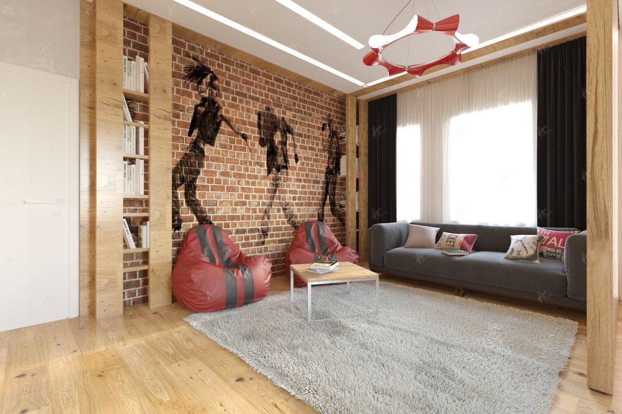 Квартира Стайл — ковёр в центре комнаты