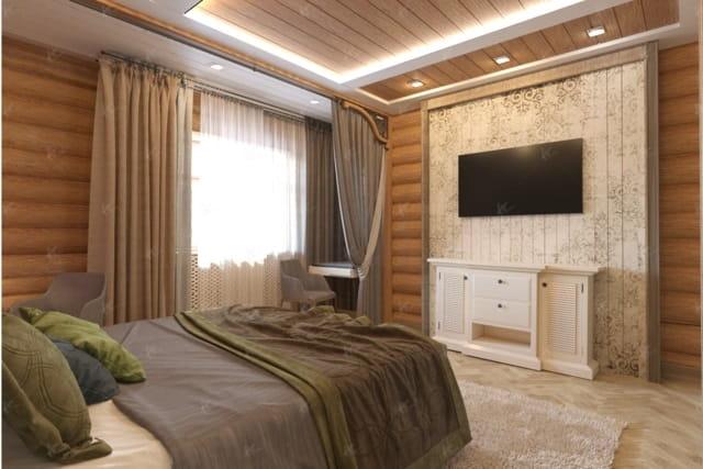дизайн интерьера в стиле green house — спальная комната 2