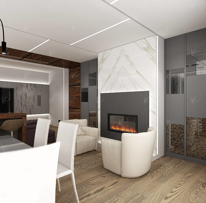 Дизайн проект Апартаменты — камин